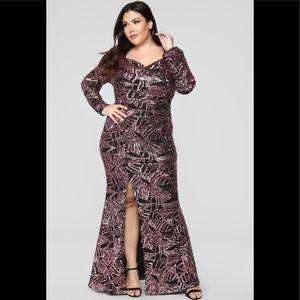 Shining light sequin black pink dress